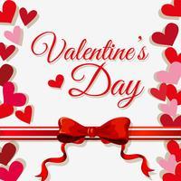 Modèle de carte Valentine avec coeurs et ruban