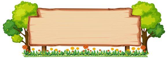 Bannière en bois dans la nature vecteur