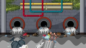 Pollution de l'eau par les égouts urbains vecteur