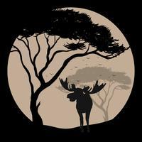 Scène de silhouette avec l'orignal dans la nuit de pleine lune vecteur