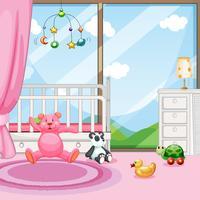 Scène de chambre à coucher avec lit bébé et poupées vecteur