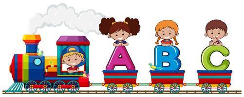 Enfants sur le train de l'alphabet vecteur