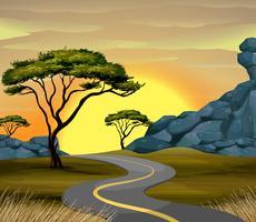 Scène de route au coucher du soleil