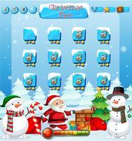 Santa jeu de neige avec bonhomme de neige vecteur