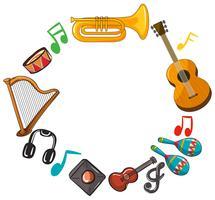 Modèle de bordure avec des instruments de musique