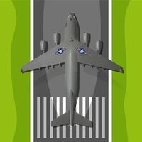 Grand avion d'atterrissage militaire vecteur