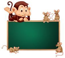 Bannière tableau noir singe et rat