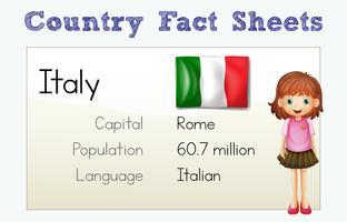 Fiche documentaire pour l'Italie vecteur