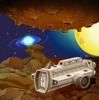 Vaisseau spatial volant dans l'espace lointain vecteur