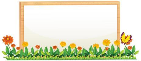 Un cadre en bois de fleurs naturelles vecteur