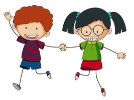 Garçon et fille tenant par la main vecteur