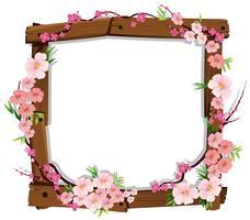 Sakura japonais rose asiatique sur cadre en bois vecteur