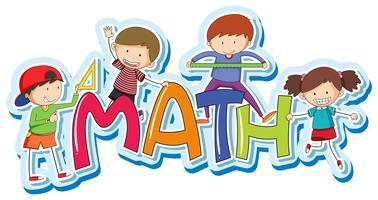 Conception de polices pour le calcul mathématique avec des enfants heureux vecteur