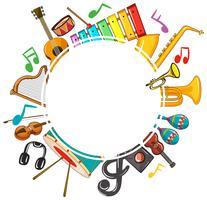 Modèle de bordure avec notes de musique et instruments vecteur