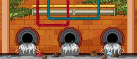 Pollution de l'eau au tuyau d'évacuation vecteur