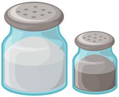 Sel et poivre en bouteille vecteur