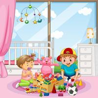 Frère et sœur jouant des jouets vecteur