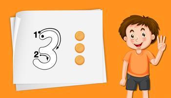 Numéro trois sur le modèle orange vecteur