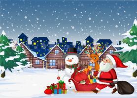 Santa arrivant en ville vecteur