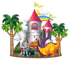 Chevalier et dragon dans les tours du château