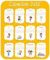 Modèle de calendrier pour 2018 avec des enfants vecteur