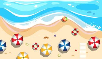 Vue aérienne d'une plage d'été vecteur