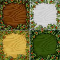 Quatre modèles de bordure avec fond de texture en bois vecteur