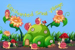 Modèle de village d'escargot enchanté vecteur