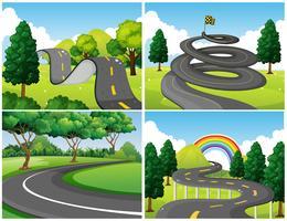 Quatre scènes de parc et de routes vides