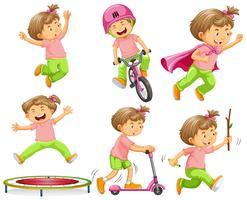 Fille jouant avec différents équipements