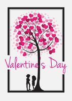 Modèle de carte Valentine avec arbre de coeur vecteur
