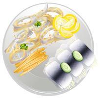 Une assiette de fruits de mer vecteur