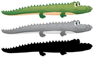 Ensemble de personnage de crocodile vecteur