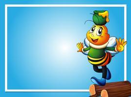 Modèle de bordure avec abeille et pot de miel