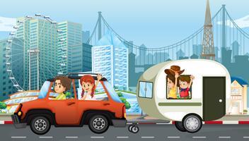 Un voyage en famille avec caravane vecteur
