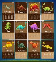 Modèle de calendrier avec 12 dinosaures vecteur