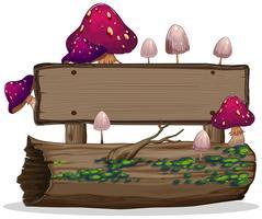 Champignon sur bannière en bois