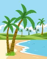 Un beau paysage de plage vecteur