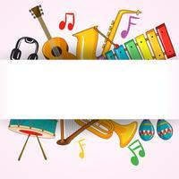 Modèle de bordure avec instrument de musique vecteur