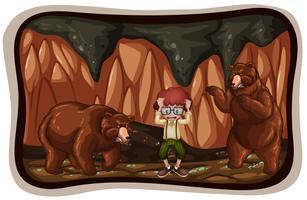 Ours effrayant dans la grotte