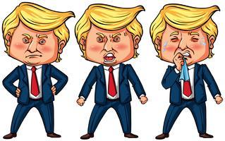 Trois actions du président américain Trump vecteur