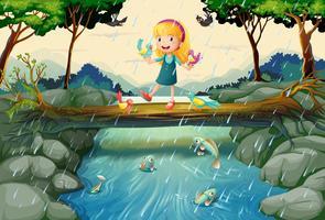 Il pleut scène avec fille sur le pont