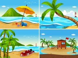 Quatre scènes d'océan avec maison de sécurité et bateau