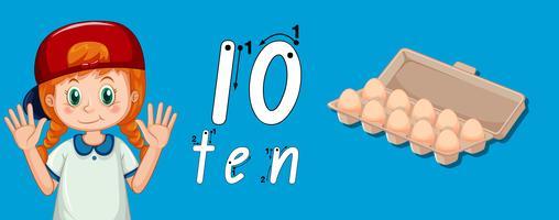 Guide de traçage numéro dix vecteur