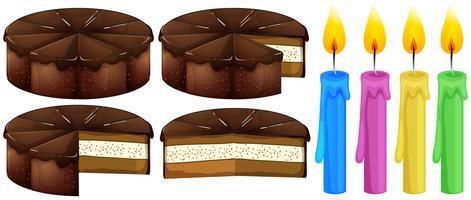 Gâteau au chocolat et bougies vecteur