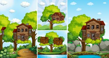 Treehouses sur l'arbre dans le parc