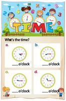 Modèle de feuille de travail pour indiquer l'heure vecteur