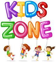 Zone enfants avec des enfants heureux et des ballons vecteur