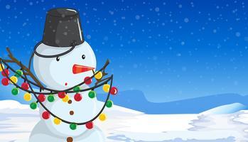 Bonhomme de neige avec scène de lumières de Noël vecteur