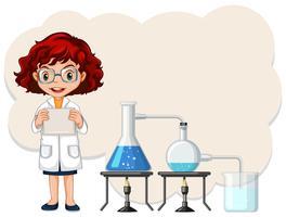 Modèle d'expérience scientifique féminin vecteur